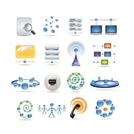 wireless icon: connection and Internet icons Illustration