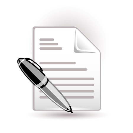 pad and pen: Document and pen icon