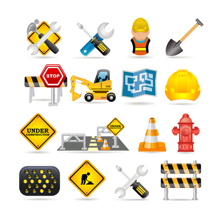 under construction sign with man: road icon set Illustration