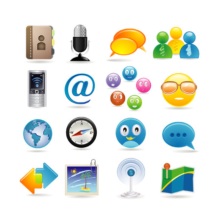 internet dating: social media icon set Illustration