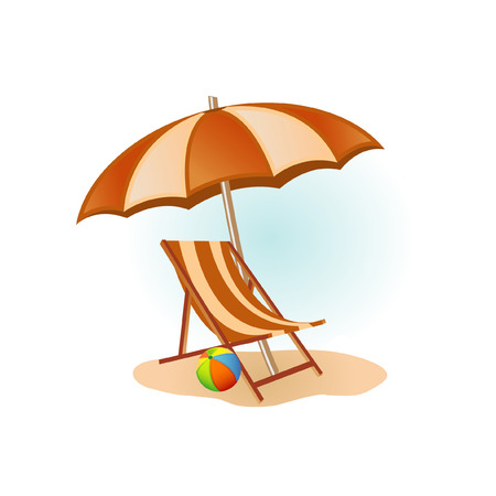ombrellone spiaggia: Foto spiaggia Vettoriali