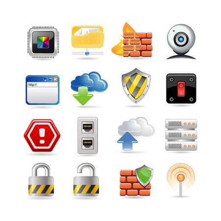 computer network icon set Vector
