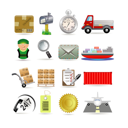 mail truck: Delivery icon set