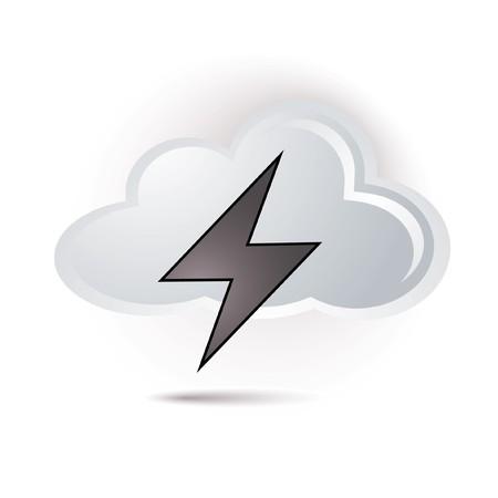 thunder and lightning: cloud and lightning icon Illustration