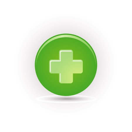 green plus icon Stock Vector - 7663995