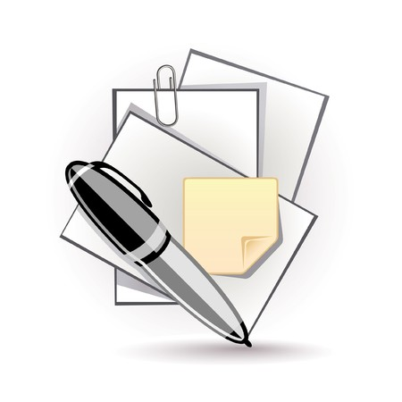 Icon of pen and paper Stock Vector - 7664041