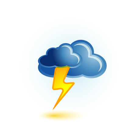 thunder storm: cloud and lightning icon Illustration