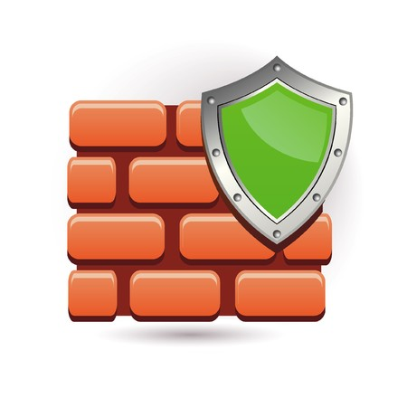 firewall icon: wall and shield Illustration