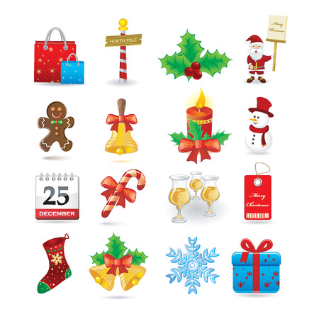 north pole: Christmas icon set