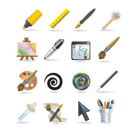 Drawing icon set Stock Vector - 8127666