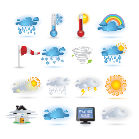 weather report: Weather report  icon set Illustration