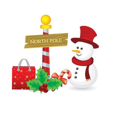 north pole sign: christmas background  Illustration