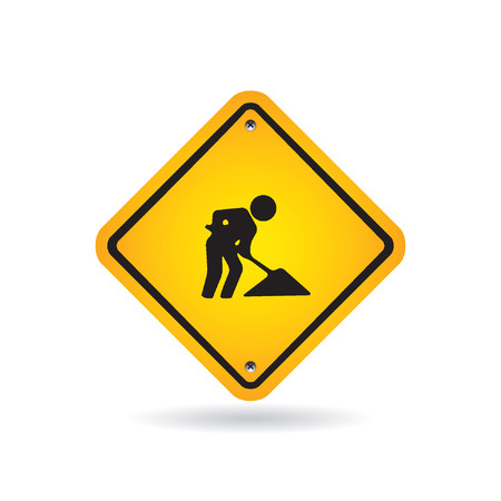 under construction sign with man: Road sign