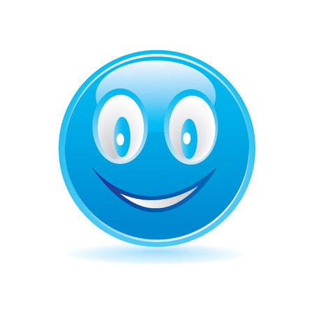 smiley content: smiley heureux bleu Illustration
