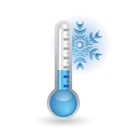 temperature: thermometer with snowflakes