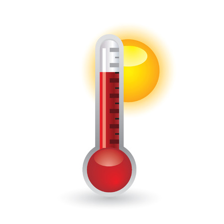 hot temperature: thermometer with sun Illustration