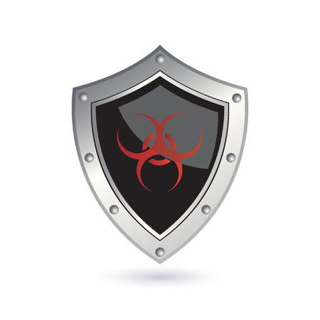 riesgo biologico: escudo con signo de peligro biol�gico Vectores
