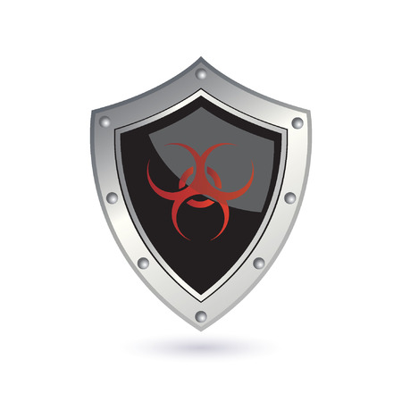 biohazard symbol: shield with biohazard sign Illustration