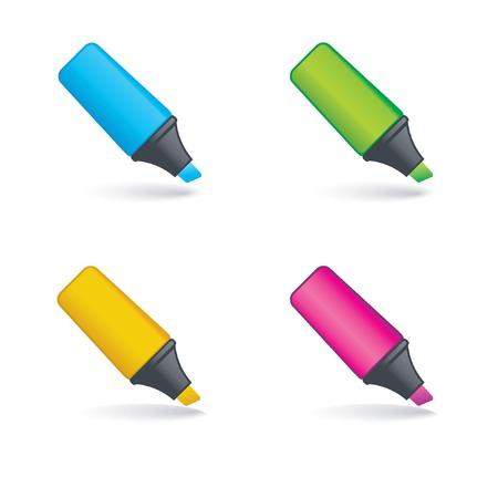 highlighter: Four highlighter pens Illustration