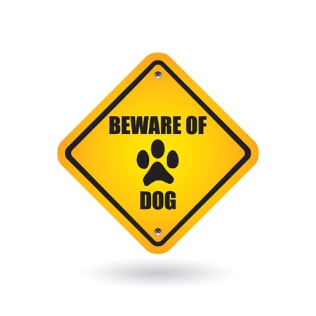 beware of dog sign Stock Vector - 9201420