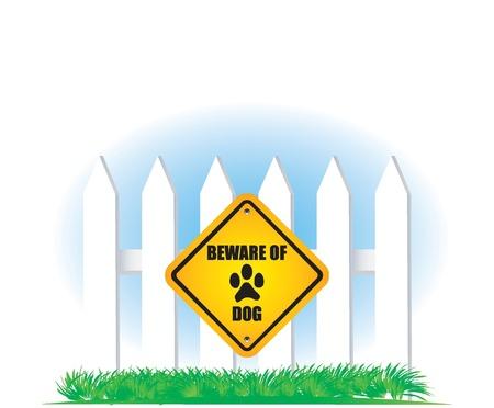 beware of dog yellow sign Stock Vector - 9201470