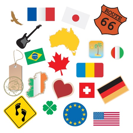 set of flags and signs Stock Vector - 9201473