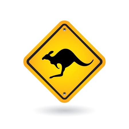 yellow sign with kangaroo Vector