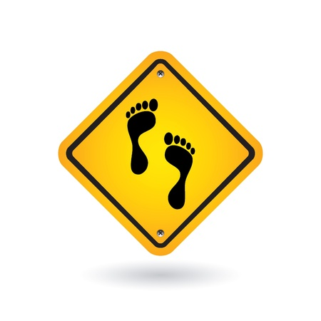 yellow sign with foot Stock Vector - 9201403