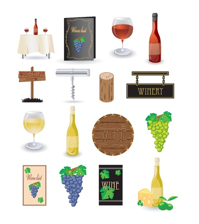 wine and cheese: Wine icon set