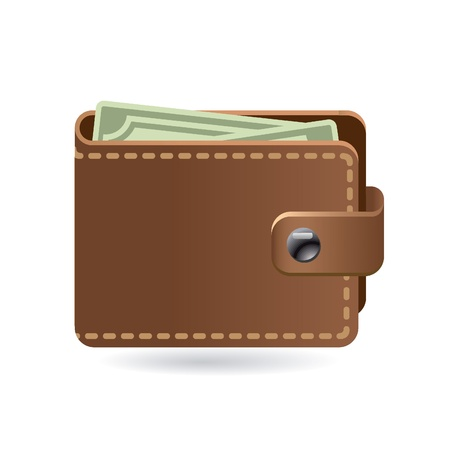 money wallet: leather wallet icon
