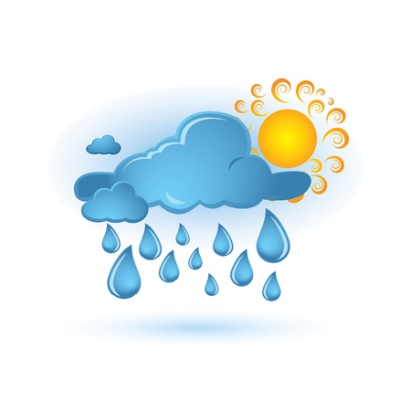 storm rain: blue cloud and sun Illustration