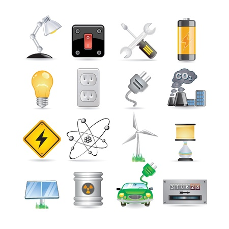 nuclear sign: electric icon set  Illustration