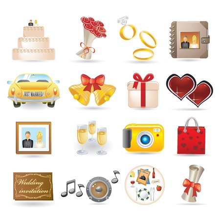 wedding icon set Stock Vector - 9461348