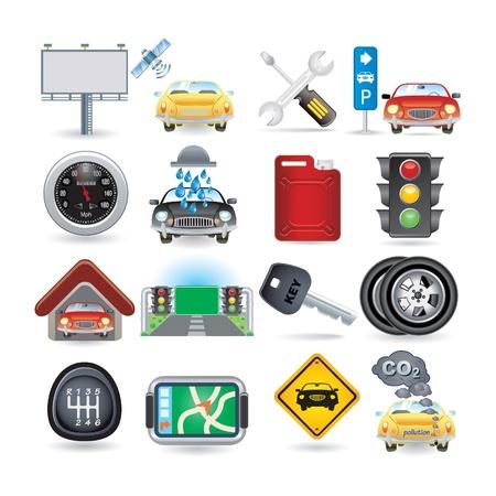 piezas coche: conjunto de iconos de coche Vectores