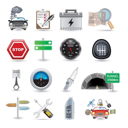 car parts and icons Vector
