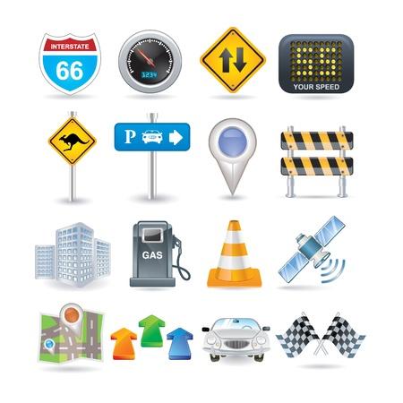 satellite navigation: conjunto de iconos de carretera y coches