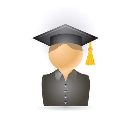 students in class: Graduation student icon Illustration