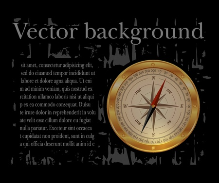 black background with compass Vector