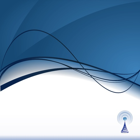 wireless tower: background with signal icon Illustration