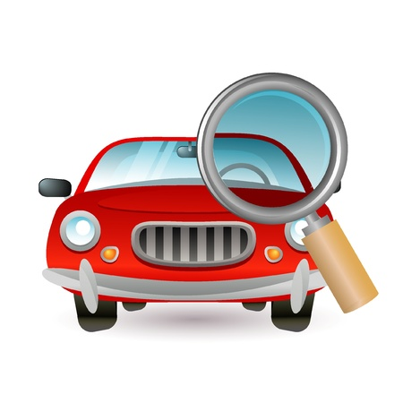 repairing: car and magnifying glass