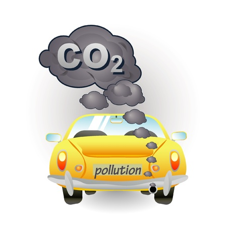 car pollution: yellow car pollution icon
