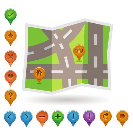 satellite navigation: iconos del mapa e indicaciones Vectores
