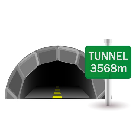 road tunnel: tunnel and sign Illustration