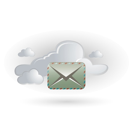 network server: cloud and letter icon