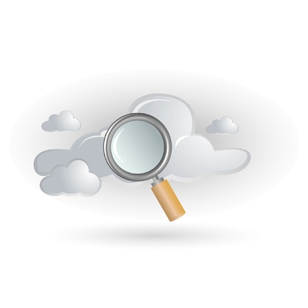 cloud and magnifying glass Vector