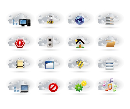 cloud network icons Illustration