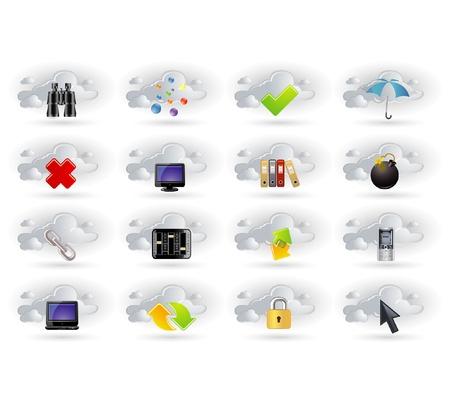 database icon: cloud network icons set