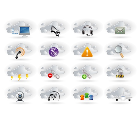web cam: cloud networking  icons set Illustration