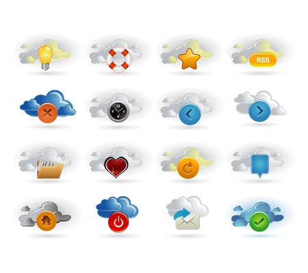 clouds and icons Vector