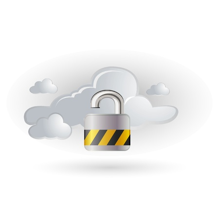 internet cloud: lock with cloud symbol Illustration